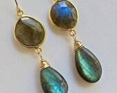 CUPID SALE Labradorite Dangle Earrings Wire Wrap Statement Earrings Labradorite Bezel Set Gemstone Long Earrings