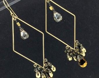 Gold Hoop Chandelier Earring Luxury Gemstone Bohemian Hoop Earring Pyrite Mystic Spinel Wire Wrap Statement Diamond Shape Boho