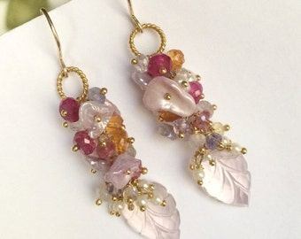 SUMMER SALE Pink Rose Quartz Leaf Cluster Earring, Blush Keishi Pearl, Wire Wrap Multicolor Gemstone, Wedding Jewelry Romantic Bohemian Earr
