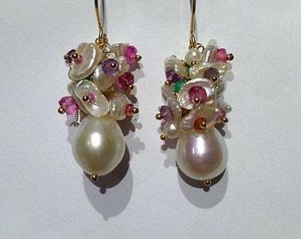 35% FLASH SALE Pearl Earrings Multicolor Gemstone Cluster Earring Handmade Keishi Cluster Earrings Gold Colorful Gemstone Cluster Earring