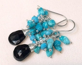 25% SALE Turquoise Cluster Earrings Black Spinel Gemstone Wire Wrapped Cluster Sleeping Beauty Turquoise Nuggets, Sterling Silver