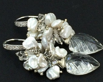 SALE Crystal Wedding Earrings Wire Wrapped Sterling Silver Bridal Earrings Carved Leaf Rock Crystal Keishi Pearl Herkimer Diamond Quartz Clu