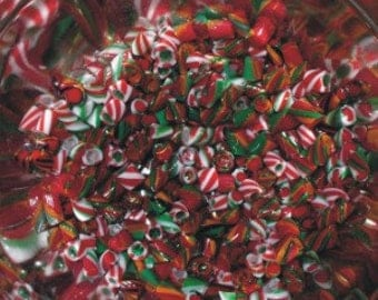 Christmas Holiday - Handmade Whirlwind Murrini - 104 coe Glass - Katie Gee - SRA