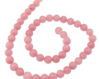 Natural Pink Marble Gemstone Beads 8mm Strand
