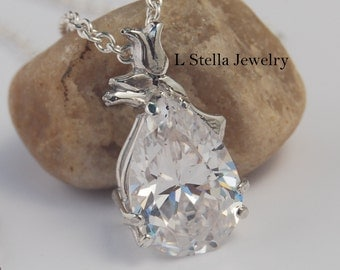 Pear shaped Stone Pendant flowers Lily of the Valley CZ Sterling cable chain