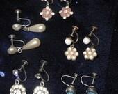 5 Pair Dainty Dangle Vintage Screw Back Earrings