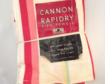 1940's Cannon Rapidry Cotton Dishtowels - Original Label Unused