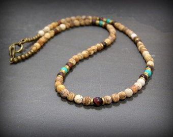 Mens Beaded Necklace, Necklace for Men, Minimalist Beaded Necklace, Gemstone Necklace, Turquoise Necklace, Native American, Tribal Necklace