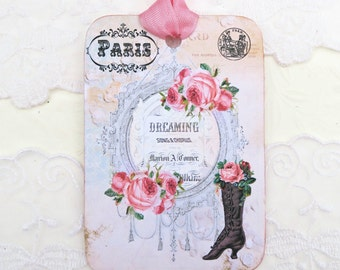 Tags Paris, Vintage Boot, Dream Tag, Gift Hang, Happy Birthday, Bridal Shower, Party Favor, Black Boot, High Tea Party French Decor Set of 6