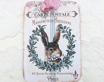 Rabbit Gift Tags, French Rabbit,Vintage Paris, Brown Bunny, Bunny Tags,Rustic Retro tags,Carte Postale,Wreath tags,Shabby tags, Australia
