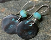 Crusty Ancient Coin Earrings  - Metal and Aqua Czech Glass with Sterling Earwires - Handmade