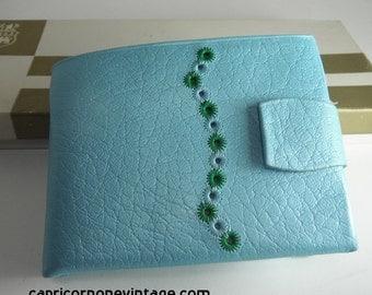 Vintage Princess Gardner Wallet Unused in Box 1960s Pre Zip Code Baby Blue Genuine Leather with Flower Accent Mid Century Ladies Accessory