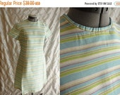 ON SALE 60s Dress // Vintage 1960s Aqua, Lime Green, Pink and White Striped Shift Dress Size M L 33 inch waist