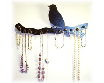 "jewelry holder ,necklace rack ,  organizer , storage display  wooden 12 pegs ""bird on a branch"""