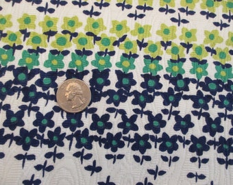 1960s Blue Flowers Cotton Fabric - 2.5 Yards