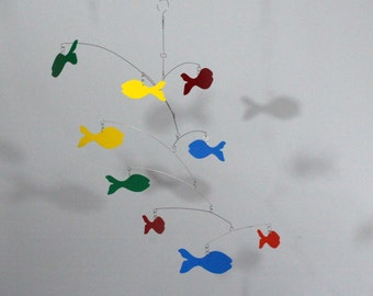 Mobile School of Fish in Rainbow - Kinetic Art Fish Mobile Sculpture by Carolyn Weir - 27w x 21t - P136