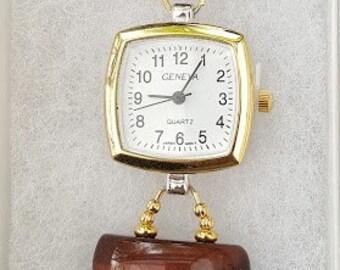 Red Tiger Eye Gemstone Bracelet Watch