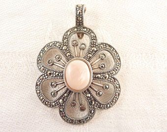 Vintage Openwork Sterling and Marcasite Deco Flower Pendant with Pink Stone Center