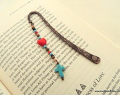 Cross Bookmark, Heart Bookmark, Gemstone Bookmark, Copper Bookmark, Gift for Book Lovers, Handcrafted Gift, Turquoise and Copper