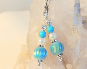 Turquoise and Pearl Earrings, Dangle Earrings, Beach Jewelry, Summer Jewelry, Handcrafted Jewelry