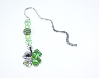 Bookmark, Green clover, Beaded bookmark, Gift, Stocking Filler, Book Mark, Shamrock