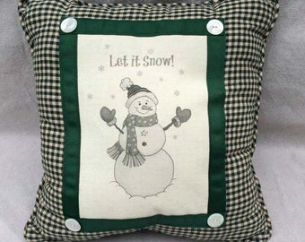 Snowman Pillow | Country Decor | Farmhouse Decor | Linen Print | Handmade throw pillow | Snowman on Linen, Country Checks, Let it Snow