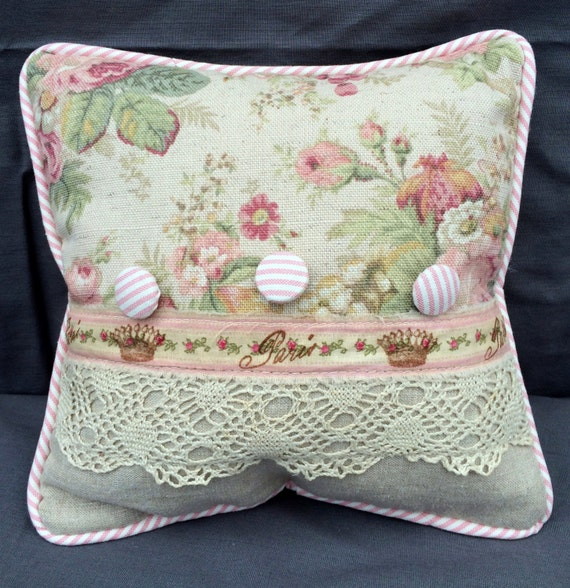 Shabby Chic Body Pillow : Shabby Chic Combination Fabric Pillow with Vintage Lace