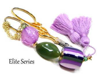 Lilac Purple Green Scissor Fob Beaded Scissor Keeper Scissor Minder Elite Series Needlepoint Quilting Sewing Cross Stitch