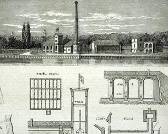Antique Print of the Potsdam Waterworks - 1878 Vintage Print from The Engineer