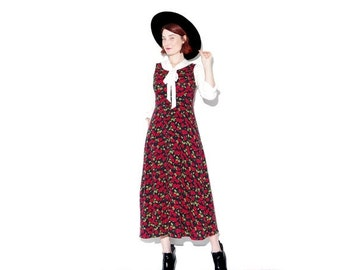 WTF HALF OFF 90s floral dress Rose Print maxi dress xs small // corset tie back sleeveless sun dress 90s grunge 90s clothing floral dress