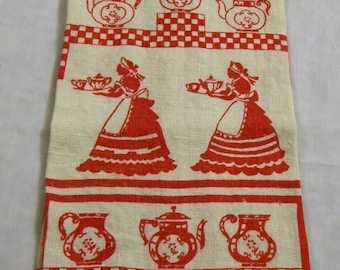 Vintage Tea Towel, Red and White Tea Towel, Red tea pots and maids, Linen Tea Towel, Red and White, 1950s, Vintage Kitchen