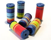Bright Striped Tube Beads with Blue Ends -  Paper and Polymer Clay