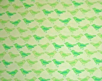 COUPON C0DE SALE - Valorie Wells, Nest, Birds, Lime Green, Free Spirit, 100% Cotton Quilt Fabric, Green, Quilting Fabric