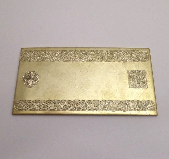 "Celtic Rolling Mill Texture Embossing Plate 3"" x 6"" BRASS Texture Plate for Rolling Mill or Hammering - Made in USA"