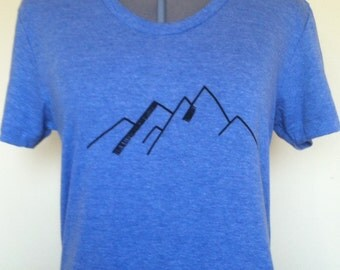 Mountains T-Shirt Womens Fitted Style American Apparel Sizes Small through Xlarge