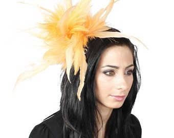 Unstripped Pale Orange Fascinator Hat for Weddings, Races, and Special Events With Headband