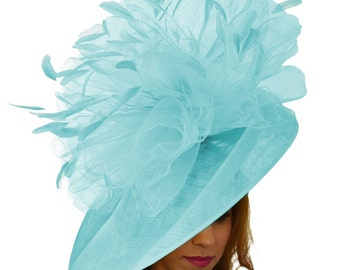 Mundhoo Turquoise Fascinator Hatinator Hat for Kentucky Derby, Weddings on a Headband (20 colours available)