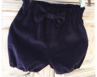 Bloomers, Shorts, Girls, Toddlers bloomers, navy blue, corduroy, kids bottoms, comfortable, elastic waist