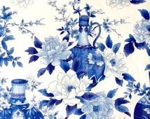 Chinoiserie Fabric with Pottery and Flowers in Blue and White