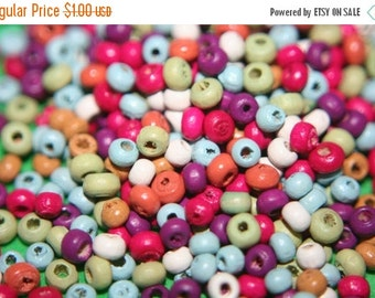 ON SALE Small Rainbow Color Wood Beads -3mm - 350 pcs