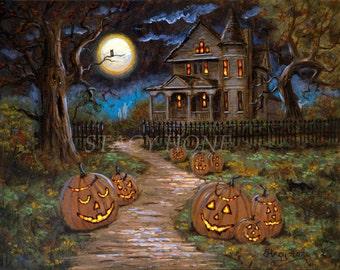 Halloween - jack o lanterns - haunted house - full moon - canvas - print 31 1/2 x 40 x 3/4 inch