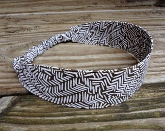 Fabric Headband with Elastic: Brown and Beige Print
