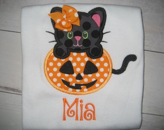 Baby Girl Halloween cat shirt, monogrammed pumpkin shirt, fall shirt, halloween cat