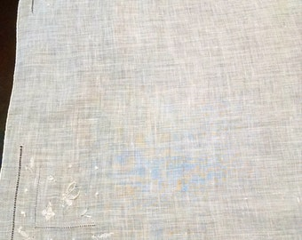 Handkerchief White on White Lady Heritage Pure Irish Linen Vintage with Sticker  Retro Linens Wedding Hanky