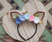 Fawn Ear Headband | Pastel Rainbow Flowers | Costume, Woodland, Photo prop