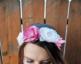 Rosy Flower Crown   Boho Crown, Wedding Crown, Flower Girl, Photo Prop