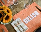 Tangerine Linen Placemats - 12 phrases to choose from