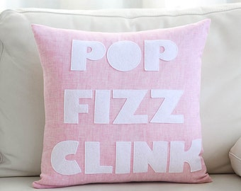 "Throw Pillow, Decorative Pillow, ""Pop Fizz Clink"" 16 inch pillow"
