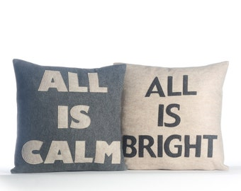 "NEW! Throw Pillow, decorative pillow, ""All is Calm, All is Bright"" throw pillow set, NEW"