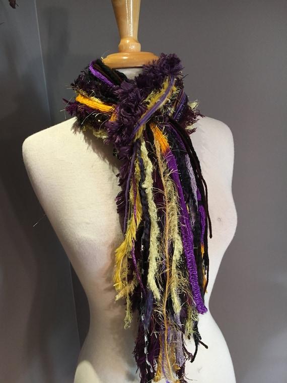 SALE Art Fringe Scarf in Purple and Gold - Fringie Scarf, LSU, Baltimore, Ravens, Viking,  handtied scarf in purple gold black, NFL scarf